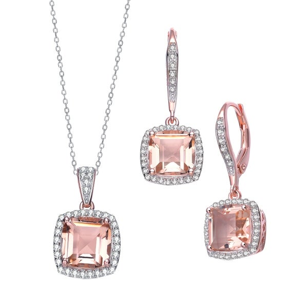 fce88f5f683 Shop Collette Z Sterling Silver with Rose Gold Plated Morganite ...