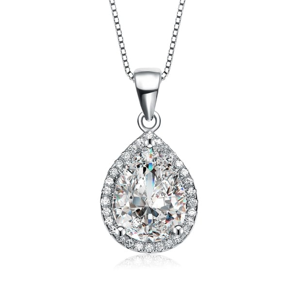 925 Sterling Silver Rhodium Plated Red White Cubic Zirconia Oval Pendant