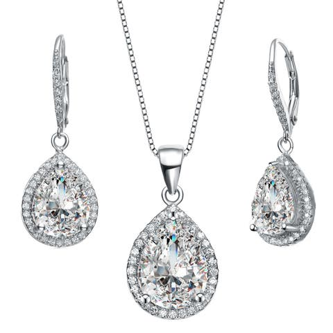 Collette Z Sterling Silver with Rhodium Plated Clear Pear with Round Cubic Zirconia Halo Leverback Earrings and Necklace Set