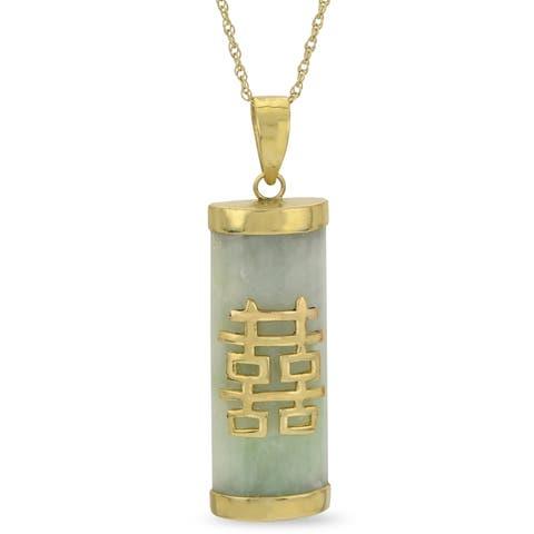 "Gems For You 18"" 10K Gold Jade Pendant"