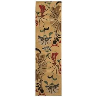 Handmade Tibetan Wool Rug (India) - 2'2 x 8'