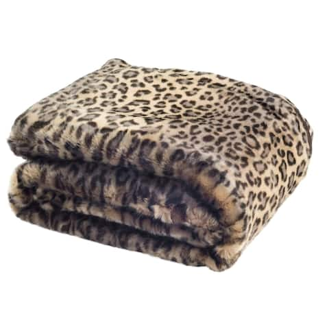 Safavieh Faux Black Leopard Throw -Leopard