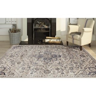 Rotterdam Classic Beige Chenille/ Poly Accent Rug - 2' x 3'
