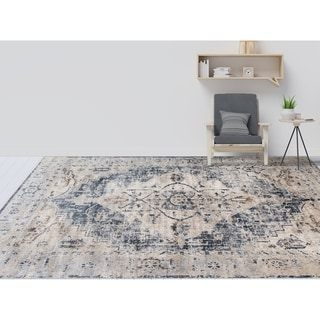 "Rotterdam Classic Gray Chenille/ Poly Area Rug - 3'11"" x 5'11"""