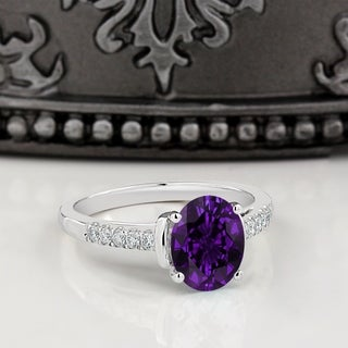 14K Gold 2ct Fancy Oval Purple Amethyst and 1/6ct TDW Diamond Engagement Ring by Auriya