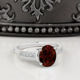 Auriya 2ct Fancy Oval Garnet And Diamond Engagement Ring 1 6ctw 14k Gold