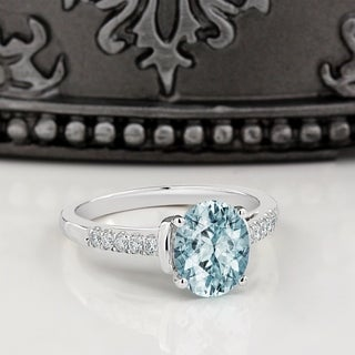 14k Gold 1 1/5ct Fancy Oval Aquamarine and 1/6ct TDW Diamond Engagement Ring by Auriya