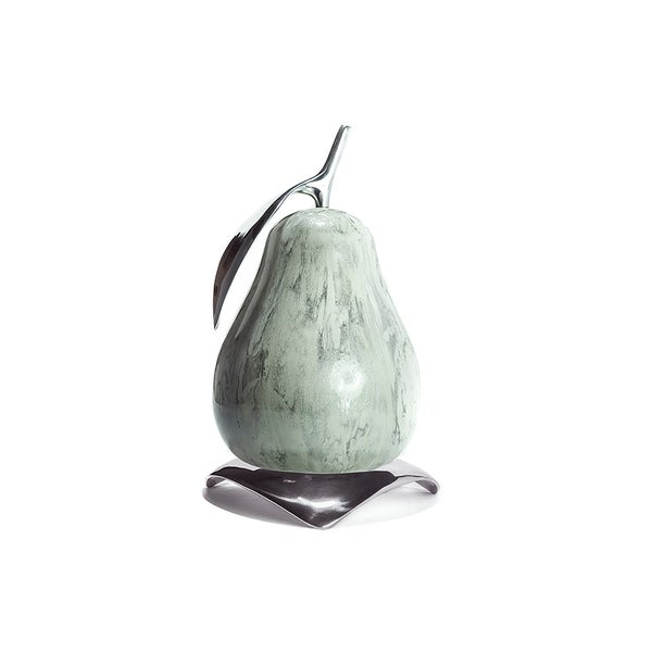 Artesana Home Montecarlo Pear and Hat Tray, Industrial, Modern, and Glam, Decorative Display Set in Chrome or Charcoal