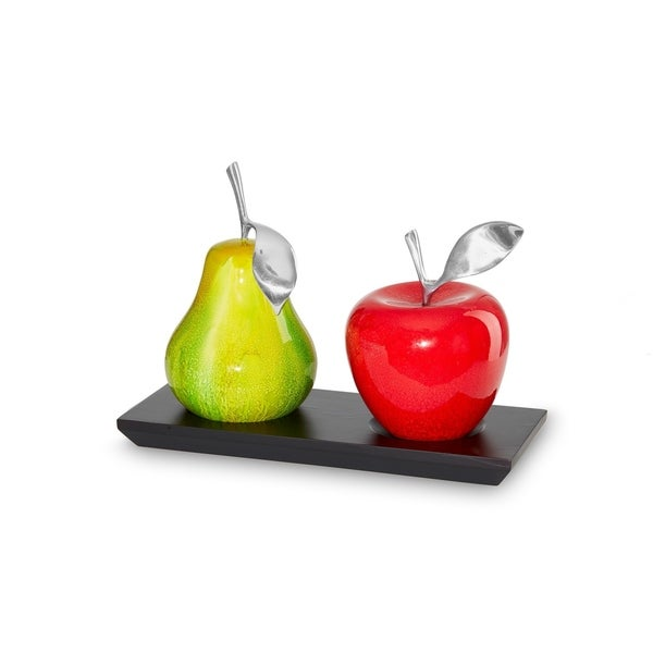 Artesana Home Watercolor Medium Red and Green Apple and Twin Base, Modern, Chic, and Sleek Decorative Display