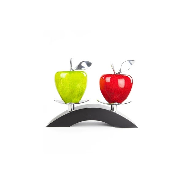 Artesana Home Watercolor Medium Red and Green Apple and Bridge Stand, Modern, Chic, and Sleek Decorative Display