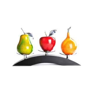 Artesana Home Watercolor Pear Green, Apple Red, Passion Fruit Mix Medium on a Triple Bridge Stand Wood Figurine