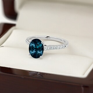 Auriya 1 1 2ct Fancy Oval London Blue Topaz And Diamond Engagement Ring 1 4ctw 14k Gold