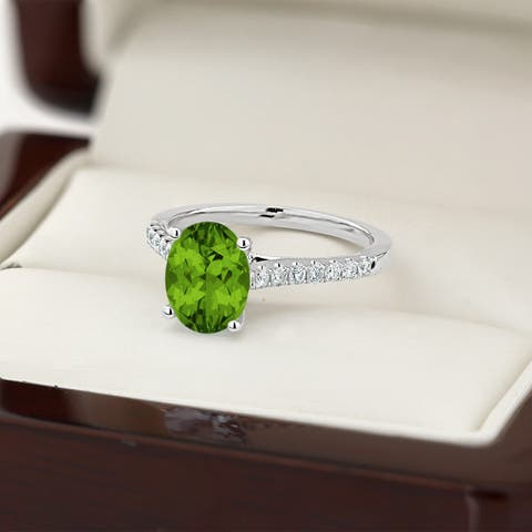 Auriya 1 1/2ct Fancy Oval Cut Peridot and 1/4ctw Diamond Engagement Ring 14kt Gold