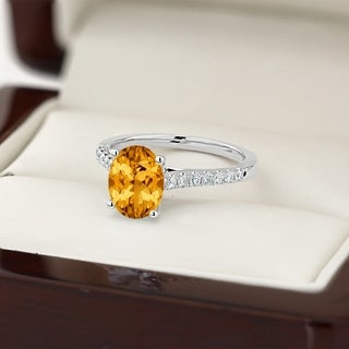 14k Gold Fancy 1 1/2ct Oval-Cut Citrine and 1/4ct TDW Diamond Engagement Ring by Auriya