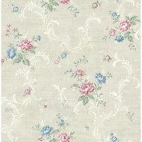 Tossed Floral Scroll Wallpaper