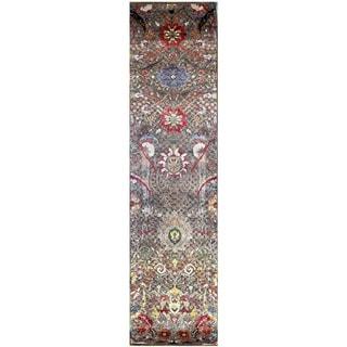 Handmade Khotan Wool Rug (India) - 2'5 x 10'1