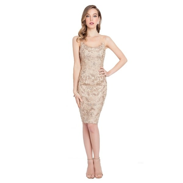 Terani Couture Women's Gold Illusion-neck Embroidered Backless Short Dress