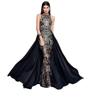 Terani Couture Black/Gold Long Halter Neck Sleeveless Embroidered Overskirt Dress