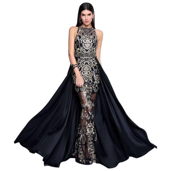 Terani Couture Black Gold Long Halter Neck Sleeveless Embroidered Overskirt Dress