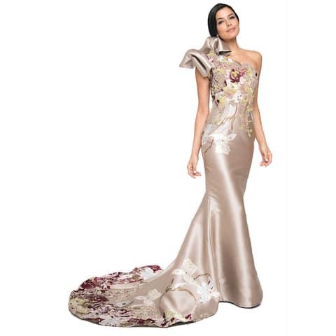 Terani Couture Bowed One Shoulder Floral Bodice Long Dress