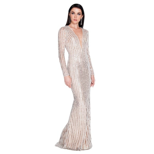 Terani Couture Plunging V-neck Long-sleeved Beaded Classic Long Dress