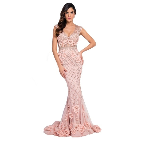 Terani Couture Deep-neck Sleeveless 3D Flower Beaded-bodice Long Dress