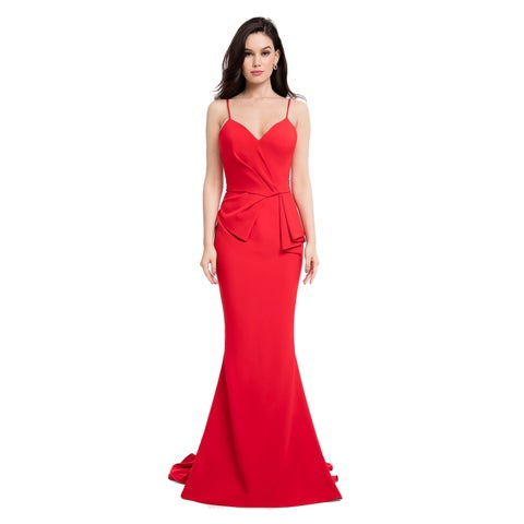 Terani Couture Red Sweetheart-neck Ribbon-waisted Long Dress