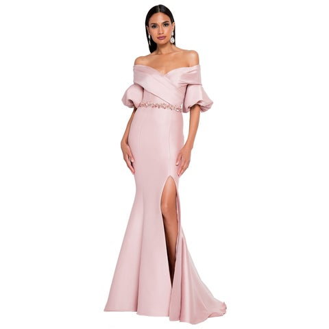 Terani Couture Pink Off-shoulder Three-quarter Bell-sleeve Belted Long Dress