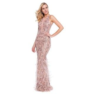 Terani Couture High-Neck Backless Beaded Feathered Long Dress