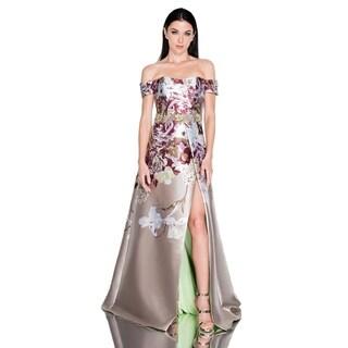 Terani Couture Off-Shoulder Floral Bodice High-Slit Long Dress