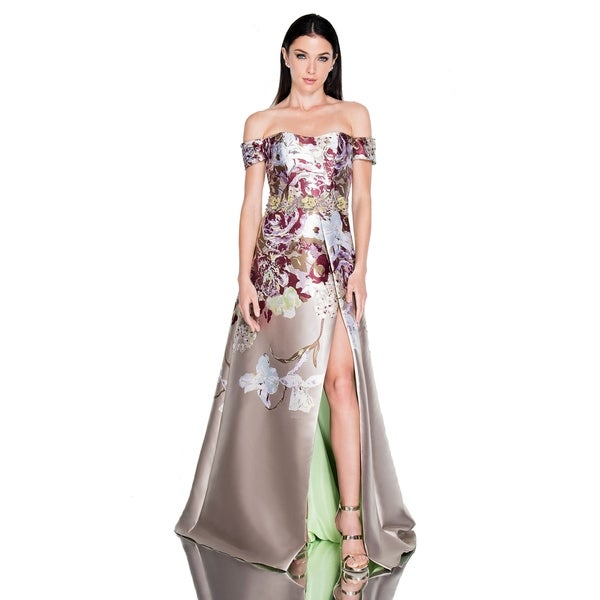 Terani Couture Off-Shoulder Floral Bodice High-Slit Long Dress