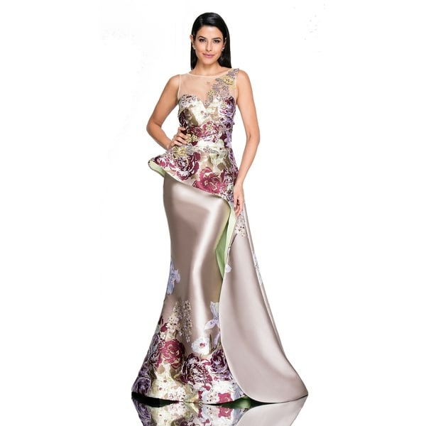 Terani Couture Women's Gold Illusion Sweetheart Neck Floral Bodice Long Dress