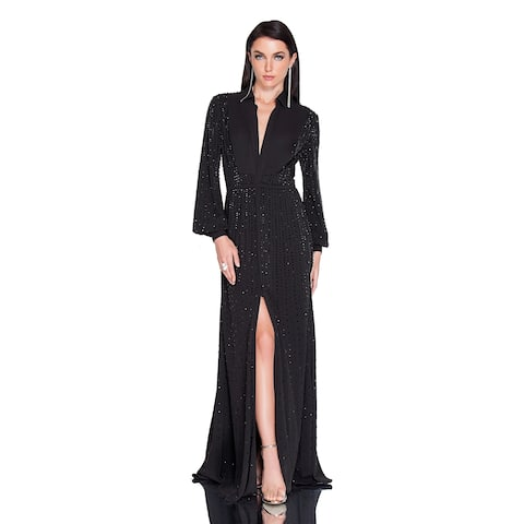 3c1ec188626 Terani Couture Women s Black Long-sleeved Collared Beaded-bodice Hi-Slit Long  Dress