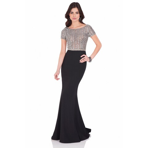 Terani Couture Women's Black/Silver Short-Sleeved Beaded Top Formal Dresx