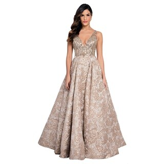 Terani Couture Gold V-Neck Sleeveless Jacquard Pocketed Ball Gown