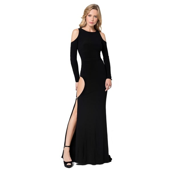 0d1d8f097f7259 Shop Terani Couture Long Sleeved Cold Shoulder High-Slit Long Dress - Free  Shipping Today - Overstock - 25575877