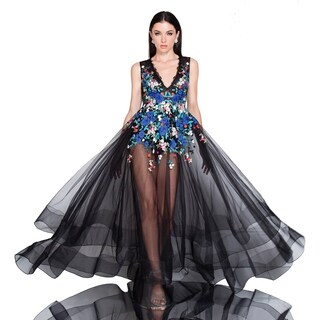 Terani Couture Black Floral-embroidered Sleeveless V-neck Body Suit Dress