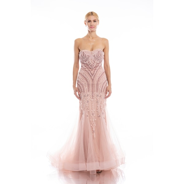 Shop Terani Couture Pink Strapless Beaded Bodice Trumpet Dress