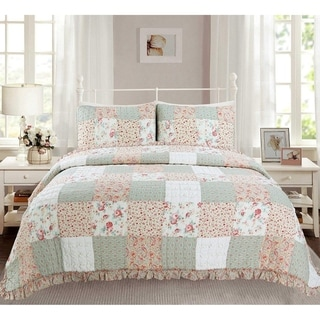 Link to Cozy Line Raila Floral Patchwork Reversible Cotton Quilt Set Similar Items in Quilts & Coverlets
