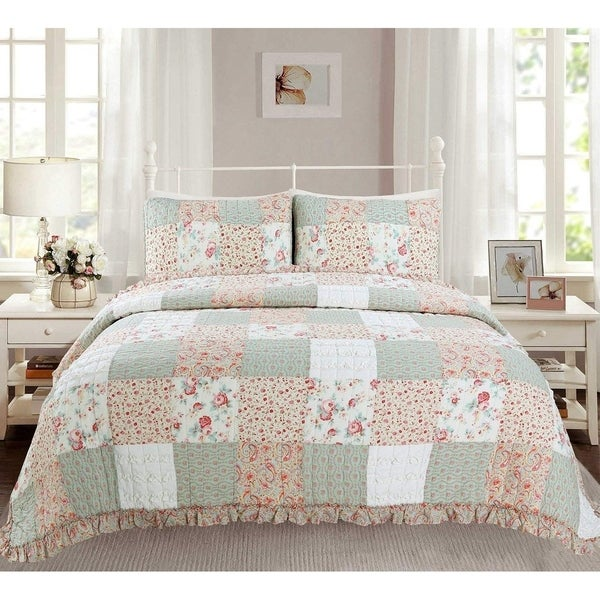 Cozy Line Raila Floral Patchwork Reversible Cotton Quilt Set. Opens flyout.