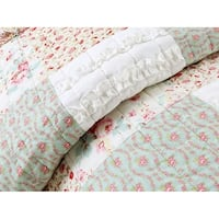 Cozy Line Raila Floral Patchwork Reversible Cotton Quilt Set