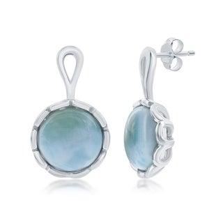 La Preciosa Sterling Silver Natural Larimar w/ Wavy Design Border Earrings