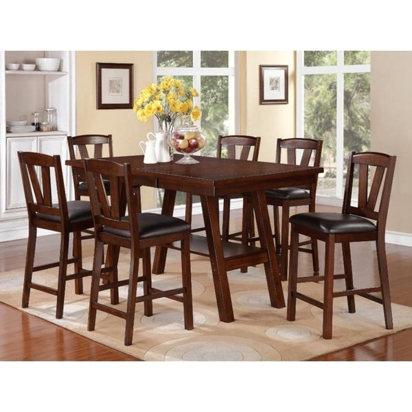 Quincy Counter Height 7-piece Rubberwood Dining Set