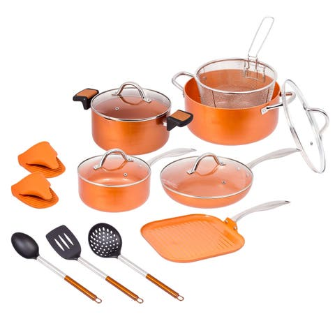 15 Pc Copper Ceramic Nonstick Cookware Set Fry Sauce Pan W/ Glass Lids Utensils