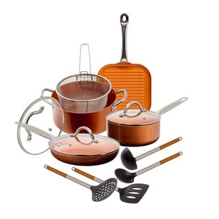 12 Pc Copper Ceramic Nonstick Cookware Set Fry Sauce Pan W/ Glass Lids Utensils