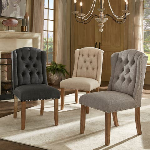 Gracewood Hollow Mabasa Tufted Wingback Dining Chair With Nailhead Trim Set Of 2