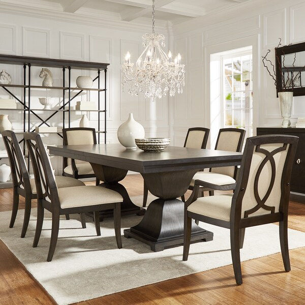 Monaco Scratch Resistant Extending 118 Inch Dining Set With Turkish Coffee Finish Chairs By