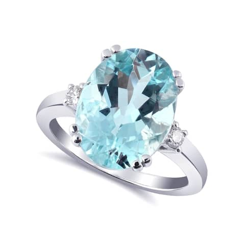 14K White Gold 5.22ct TGW Aquamarine and Diamond One-of-a-Kind Ring