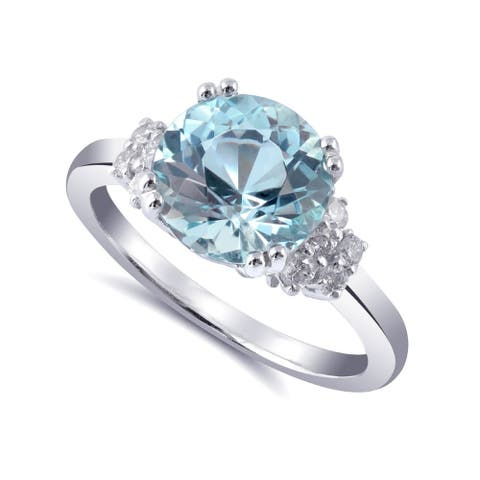 14K White Gold 2.64ct TGW Aquamarine and Diamond One-of-a-Kind Ring