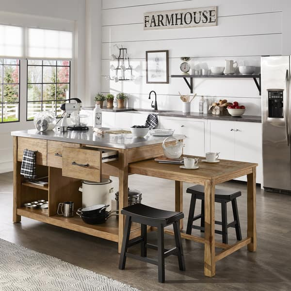 Tali Reclaimed Wood Extendable Kitchen Island By Inspire Q Classic Overstock 25576038